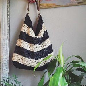 Talbots striped straw tote bag
